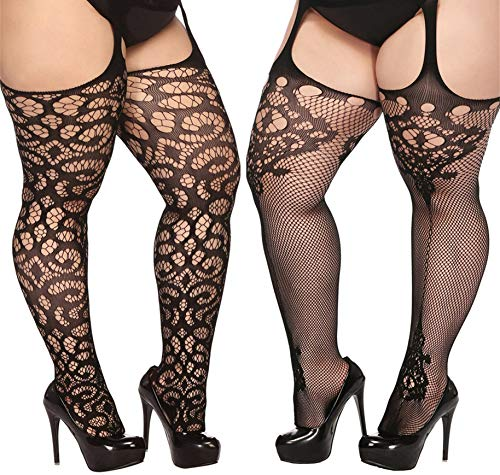 TGD Plus Size Stockings for Women Suspender Pantyhose Fishnet Tights Black 2 Pairs Thigh High Stocking (Fit US 8-16)(Black - Pantyhose Crotchless Sheer