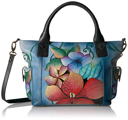 Anuschka Anna Handpainted Leather Women's Large Tote with Side Pockets, Midnight Floral by Anna by Anuschka