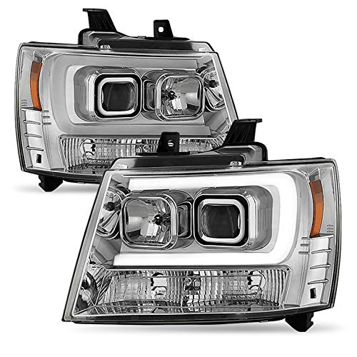 Xtune 2007-2014 Suburban/Tahoe Chrome Projector Headlights w/DRL-Light-Tube Built-in 2008 2009 2010 2011 2012 2013 Pair L+R