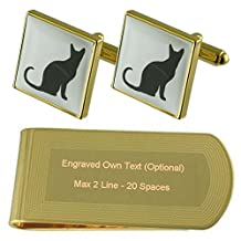 Luck Black Cat Gold-tone Cufflinks Money Clip Engraved Gift Set