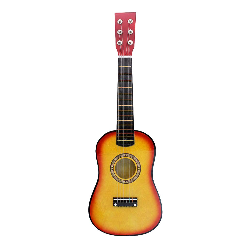 B Blesiya Exquisite Solid Wood 6 Strings 21inch Guitar Beginners Practice Mini String Instrument - Coffee, as described