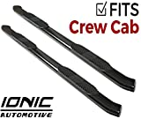 "Ionic 5"" Black Steel Curved Nerf Bars (fits) 2009-2018 Dodge Ram Crew Cab Only Truck Side Steps (423309BP)"