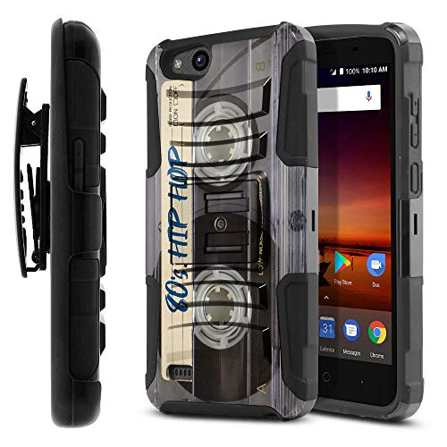 FINCIBO Case Compatible with ZTE Tempo X N9137, Dual Layer Hybrid Rigid Armor Protector Cover Stand TPU Holster for Tempo X N9137 (NOT FIT Tempo N9131) - Retro Clear Cassette Tape Hip Hop