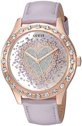 GUESS Women's U0909L3 Trendy Rose Gold-Tone Watch with Silver Dial , Crystal-Accented Bezel and Genuine Leather Strap Buckle