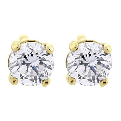 438058bb11e 0.06 ct tw Small Four Prong Diamond Stud Earrings 14K Yellow Gold   Amazon.co.uk  Jewellery