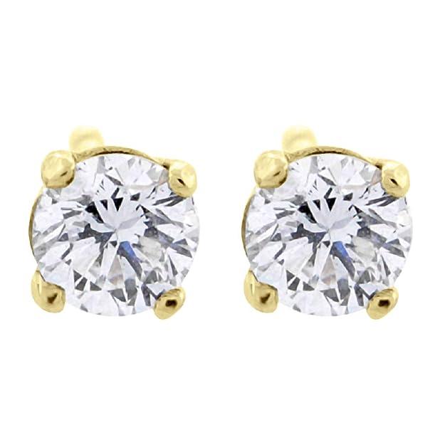 424c3e6c1 0.06 ct tw Small Four Prong Diamond Stud Earrings 14K Yellow Gold:  Amazon.co.uk: Jewellery