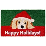 "Entryways Dog Lovers Holiday Handmade, Hand-Stenciled, All-Natural Coconut Fiber Coir Doormat 18"" X 30"" x .75"""