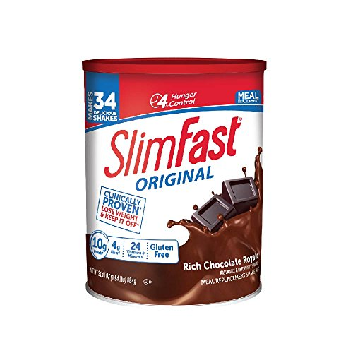 SlimFast Original Rich Chocolate Royale Meal Replacement Shake Mix - Weight Loss Powder - 31.18oz Canister - 34 servings (Best Weight Loss Shakes In Stores)