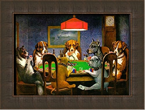 Dogs Playing Poker by Cassius Marcellus Coolidge Oil Painting Reproduction Giclee Wall Art Canvas Prints (Frame 111, 12X16)