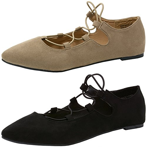 alpine swiss Elena Women's Pointed Toe Ballet Flats Strappy Slip-On Flat Shoes