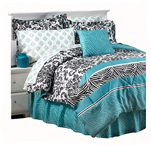 Royal Animal Safari Teal Zebra Stripe & French Damask Prints Comforter Shams Bedskirt & Sheet Set (6pc's Twin Size Bed in A Bag)