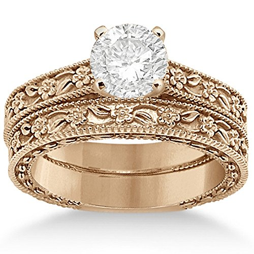 - Carved Flower Engagement Ring and Wedding Band Bridal Set with carved floral details in 14K Rose Gold
