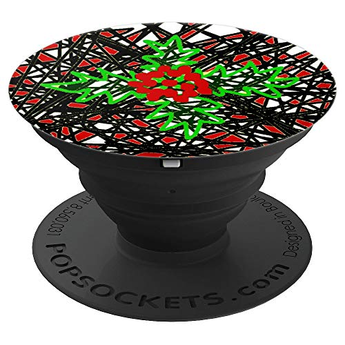 Red and Green Holly Bush and Red Berries Art ~ - PopSockets Grip and Stand for Phones and Tablets (Holly Bush Berries)