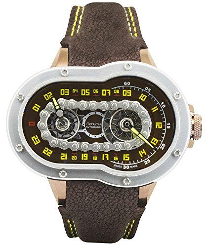 Block Ss Watch (Azimuth CRAZY RIDER auto watch Motorcycle engine design Engine block back BROWN)