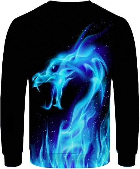 sunnymi - Ropa para Hombre Camisa de Manga Larga para Hombre, otoño RT e Invierno, diseño de flama de dragón, para Viajes, Vacaciones, Informal, de algodón, M-3XL, Hombre, Azul, Large: Amazon.es: Deportes