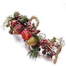 Factory Direct Craft Wintry Gold Glittered Beaded Fruit and Twig Swag for Indoor Decor