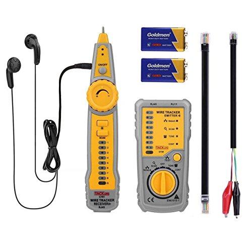 Tacklife CT01. Detector de cables elé ctricos. Comprobador de red y cables telefó nicos RJ45/RJ11. Verifica el cableado con auriculares y aviso con receptor y transmisor. CT01-DE