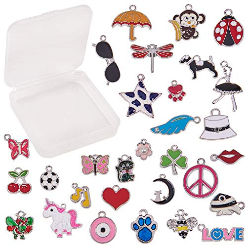 - SUNNYCLUE 1 Box 30pcs Assorted Enamel Charms Silver Plated Alloy Unicorn Animals Heart Flower Jewelry Charm Pendants for DIY Jewelry Necklace Bracelet Ankle Earring Making