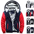 Pervobs Mens Hoodies Warm Thicken Fleece Zipper Sweater Jacket Outwear Coat