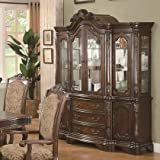 Coaster Andrea 103114 72'' China Cabinet with 3 Drawers 6 Doors Tempered Glass Acanthus Leaf Embellishments Poplar Wood and Cherry Veneer Materials in Brown and Cherry