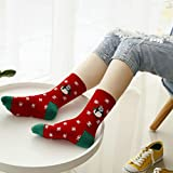 Hot Sale! Napoo Women Cute Christmas Santa Claus Snows Cotton Socks (F)