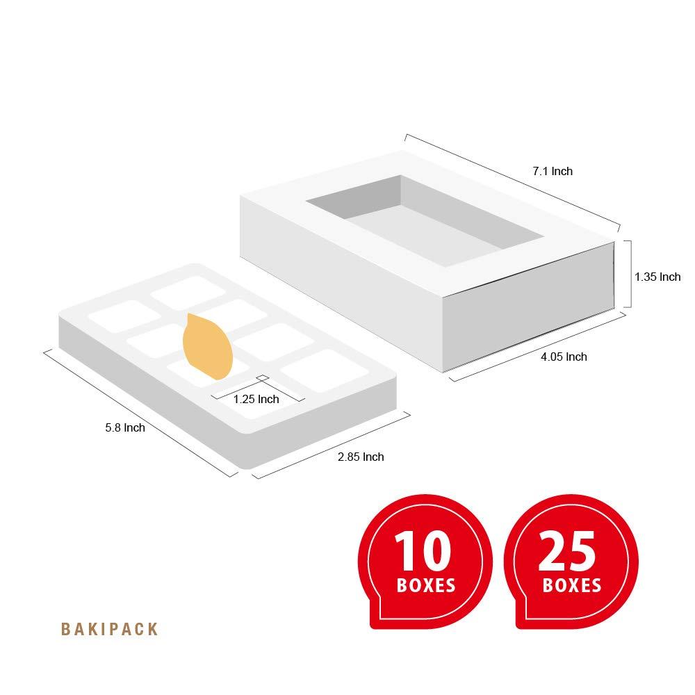 10 PCS Truffle Box Chocolate Box Candy Box for 8, (7x4 05x1