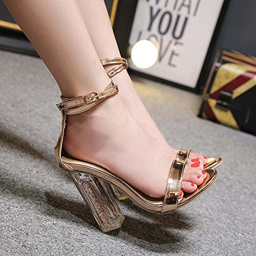 Tacco con Donna Size Sandals da Simple Catwalk Estate 40 Thick Alto Open MYI Toe New Sandali European Sandali 35 Oro Gold Crystal YfSpqw0