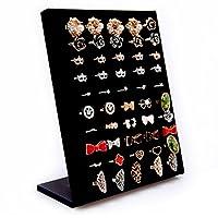 Homeanda Velvet L-Shaped 50 Slots Ring Earring Jewelry Display Tray Organizer Holder
