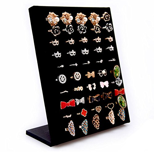 Homeanda Black Velvet L Shaped 50 Slots Ring Display Storage Organizer Holder