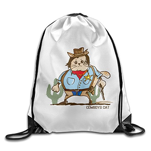 Maurm Cowboys Cat Rainbows Sharks In The Space Drawstring Bags Cute Backpack Shoulder Bags Gym Sport Pack