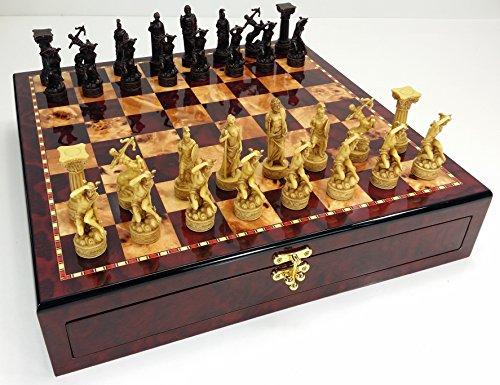 Greek Roman Mythology Gods Chess Set W/ High Gloss Cherry & Burlwood Color Storage Board ()