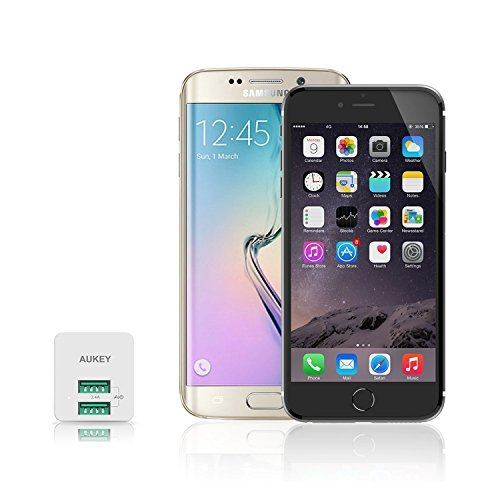 AUKEY USB Wall Charger, ULTRA COMPACT Dual Port 2.4A Output & Foldable Plug for iPhone iPad Samsung & Others - White