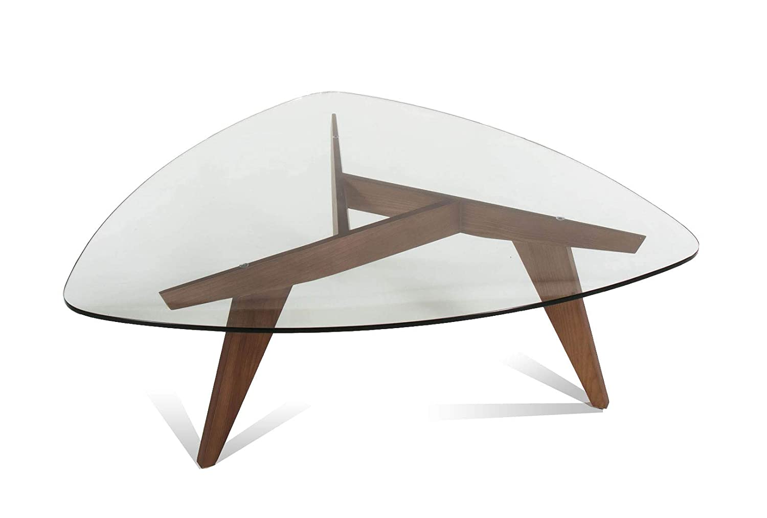 Triangle Coffee Table Wood.Amazon Com At Home Usa Disco Triangle Coffee Table Glass Top
