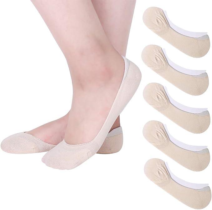 Angelikashalala - Calcetines de algodón invisibles para mujer, 5 pares, con tira de silicona antideslizante Beige beige Talla única: Amazon.es: Ropa y accesorios