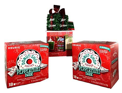 Donut Shop Peppermint Bark 36 K Cups w/14 oz Holiday Mug & Xmas Ornament - 4pc Bundle ()
