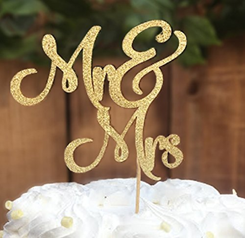 Price comparison product image Mr & Mrs cake topper prime - Beautiful wedding cake topper perfect for wedding decorations,  wedding decor,  wedding anniversary decorations. A great gold wedding cake topper! By Dos Chonguitos