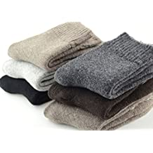 EBMORE Mens Heavy Thick Warm Comfort Wool Crew Winter Socks 5-Pack Mixed Colors