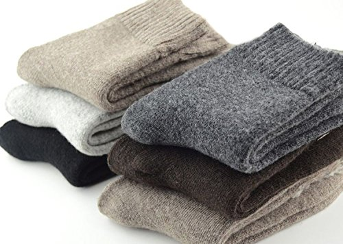 EBMORE Mens Heavy Thick Warm Comfort Wool Crew Winter Socks 5-Pack Mixed Colors (Solid color) (Wool Socks Thick)