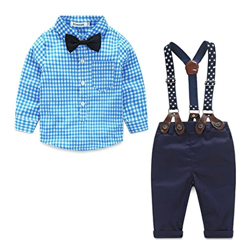 Staron 2pcs Kids Baby Boy Plaid Shirt Outfits Set Infant Grid Tops+Suspender Pants (0-6 Months, Blue)]()