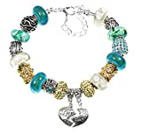 Mother Daughter European Style Glass Bead Charm Bracelet with Love, Heart, Best Friend Charms