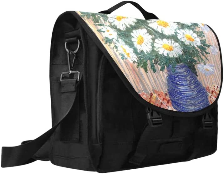 Stylish Crossbody Bags Beautiful and White Field Flowers Multi-Functional Printed Laptop Briefcase Fit for 15 Inch Computer Notebook MacBook