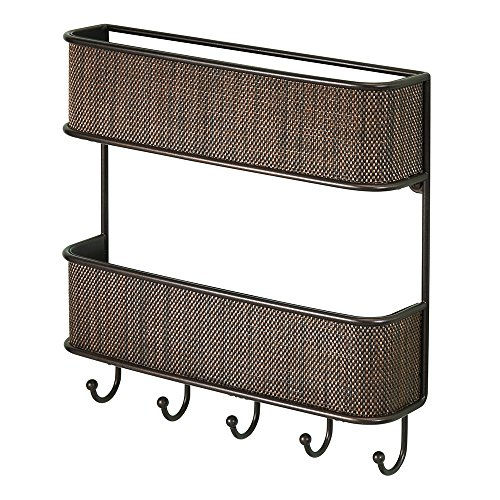 InterDesign Twillo 2-Tier Mail Organizer and Key Rack - Wall Mounted Letter Shelf and Key Hooks, Bronze