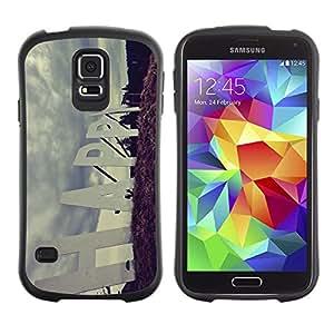 All-Round híbrido de goma duro caso cubierta protectora Accesorio Generación-I BY RAYDREAMMM - Samsung Galaxy S5 SM-G900 - Happy Quote Slogan Sign Road Positive