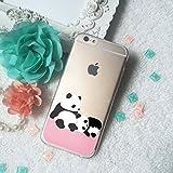 Two cute Panda pattern Clear TPU Phone Case for iPhone 4 4s 5 5s 5c SE 6 6S Plus Galaxy S4 S5 S6 S7 edge Note 7 HTC One LG G3 G5 Desire Xperia Nexus 5X 6P