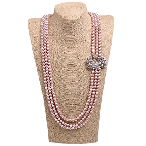 Romantic Time Elegant Silver Lover Peacock Multilayer Pearls Sweater Chain Necklace - Indian Top Models Pic