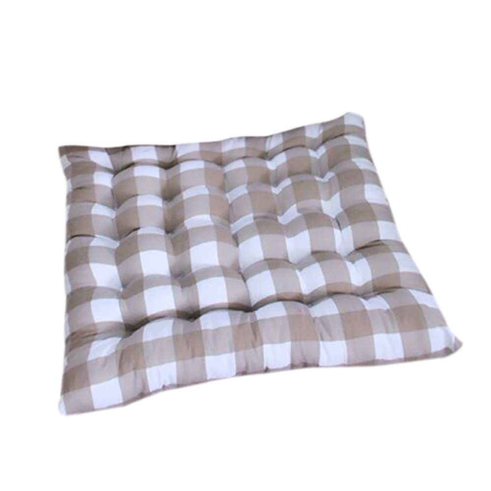 Square Chair Cushion Pads Lattice Stripe Design 15.74 X 15.74 Inch Soft Buttocks Seat Chair Cushion Pads Pillow for Home Office Sofa Decoration (Coffee)