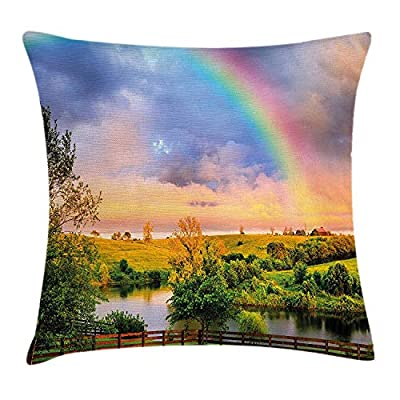 ZQKCMY Rainbow Throw Pillow Cushion Cover, Kentucky Countryside with Lively Green Pastures River and a Rainbow, Decorative Square Accent Pillow Case, 18 X 18 inches, Hunter Green Multicolor