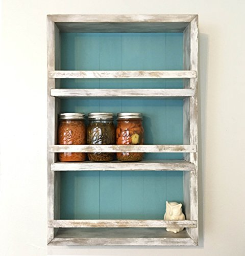 Rustic Kitchen Wall Cabinet- Mason Jar Storage and Spice Rack