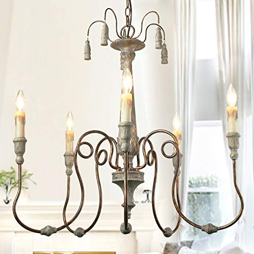 LALUZ French Country Chandeliers for for Living and Dining Rooms, Distressed Finish Shabby Chic Lighting, A03299