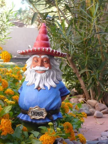 El Gnombre Gnome for indoors or outdoors – 13 High x 7 Wide -Colorful long lasting cast resin material- Weight 3 pounds